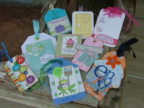 Some of the darling birthday tags I received from my online birthday tag swap.