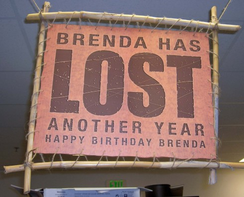 Stace even managed to wrangle up some rope and bamboo to make Brenda's sign as authentic as possible.