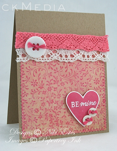 "Here's NikiE's soft and romantic ""Be Mine"" card."