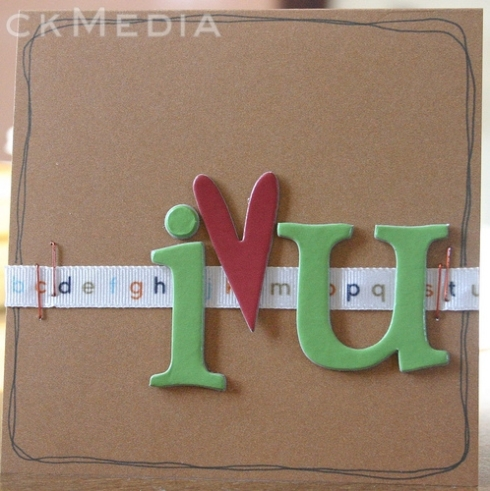 "Here's shortcakescraps' clean and graphic ""I Heart U"" card."