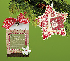 Jingle Bell Christmas Ornament by Beatriz Jennings and Happy Holiday Co. Star Ornament by Sherry Wright, p. 151
